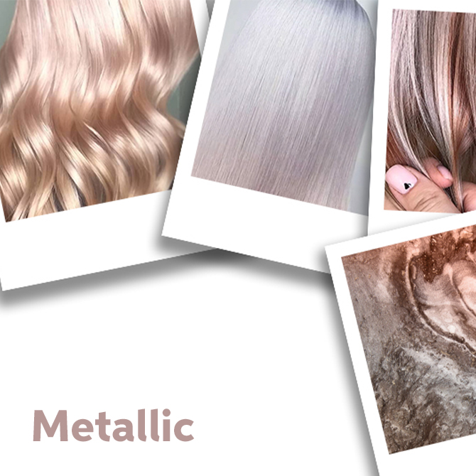 Montage of metallic hair and texture images