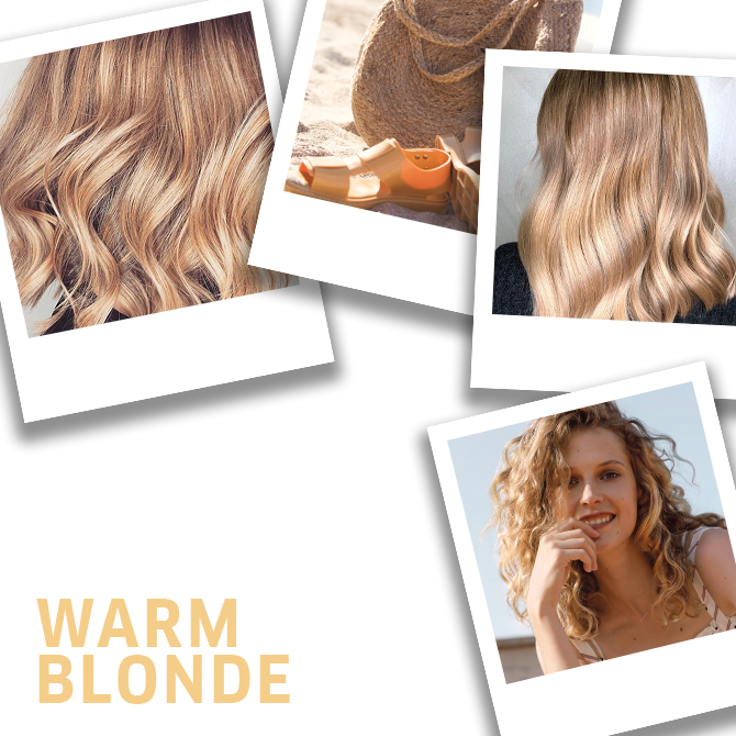 Collage of warm blonde hair ideas, created using Wella Professionals