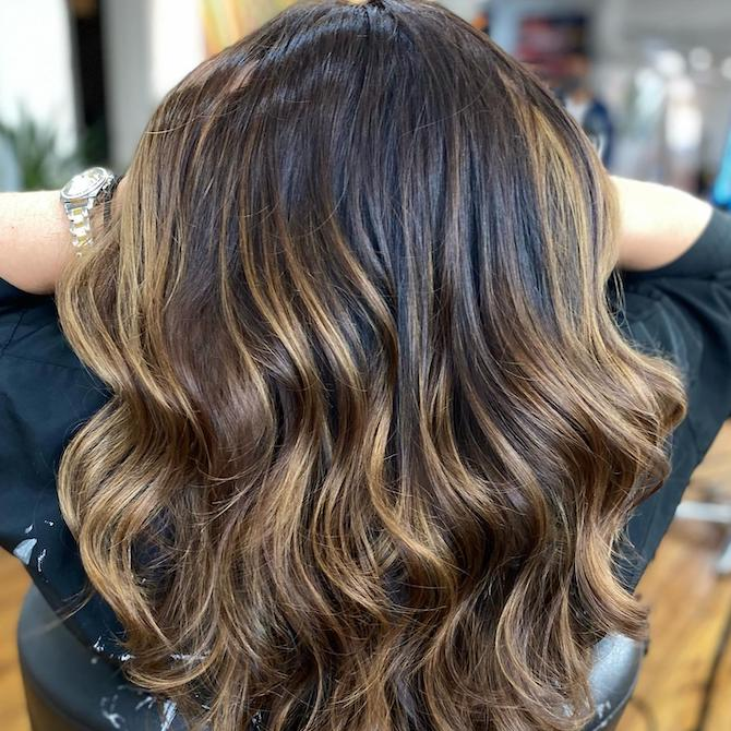 Back of woman's head with dark brunette hair and golden blonde highlights, created using Wella Professionals.