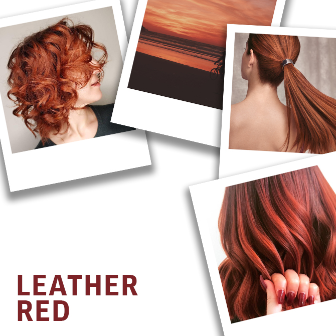Collage of leather red hair colors created using Wella Professionals