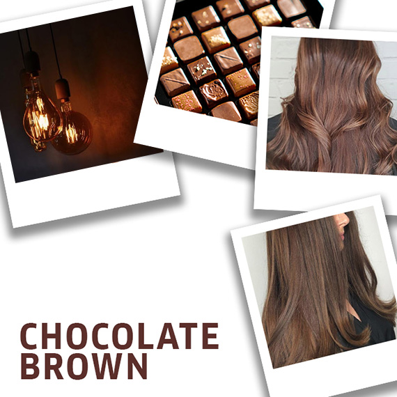 Montage of chocolate, and chocolate brown hair created using Wella Professionals
