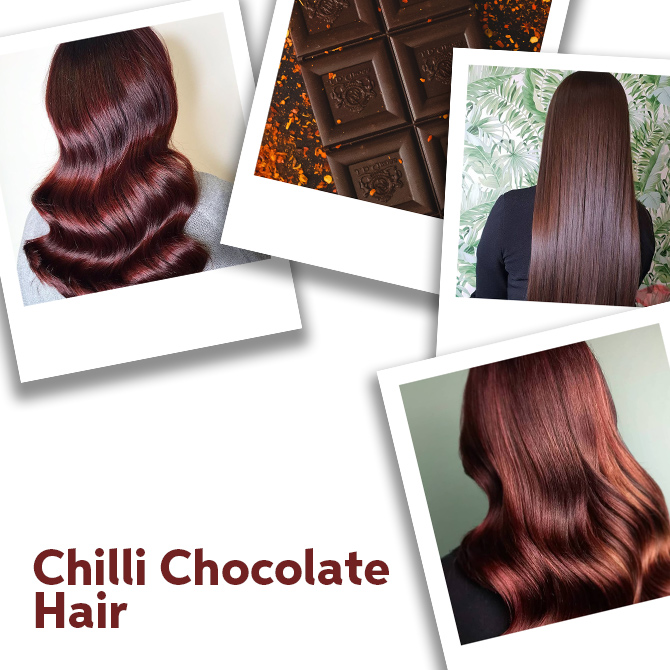 Close up of Chilli Chocolate hair