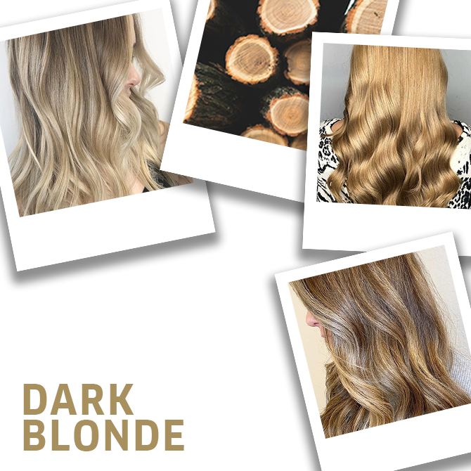 Collage of dark blonde hair ideas, created using Wella Professionals.