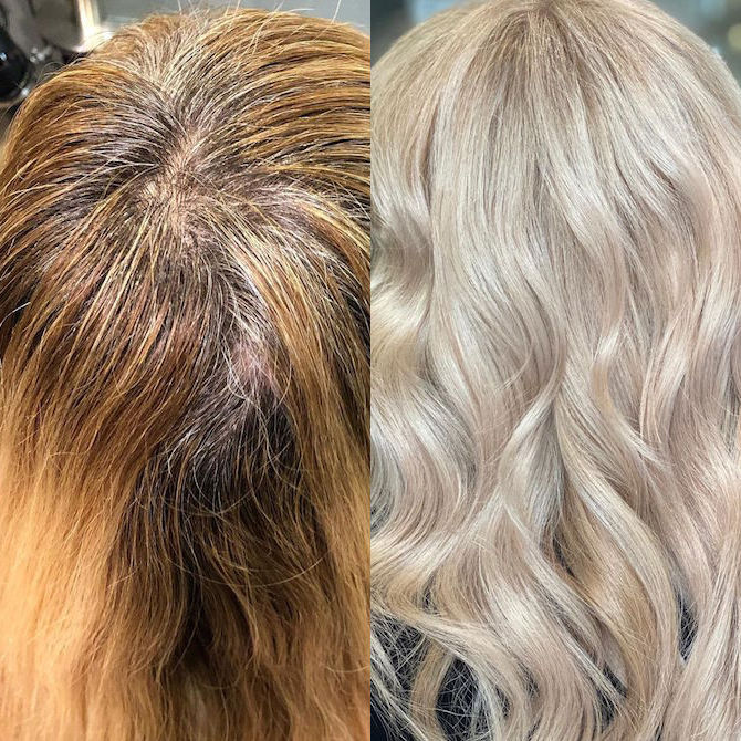 Before and after of gray roots covered with blonde hair color.