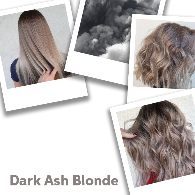 Collage of dark ash blonde hair colors, created using Wella Professionals.