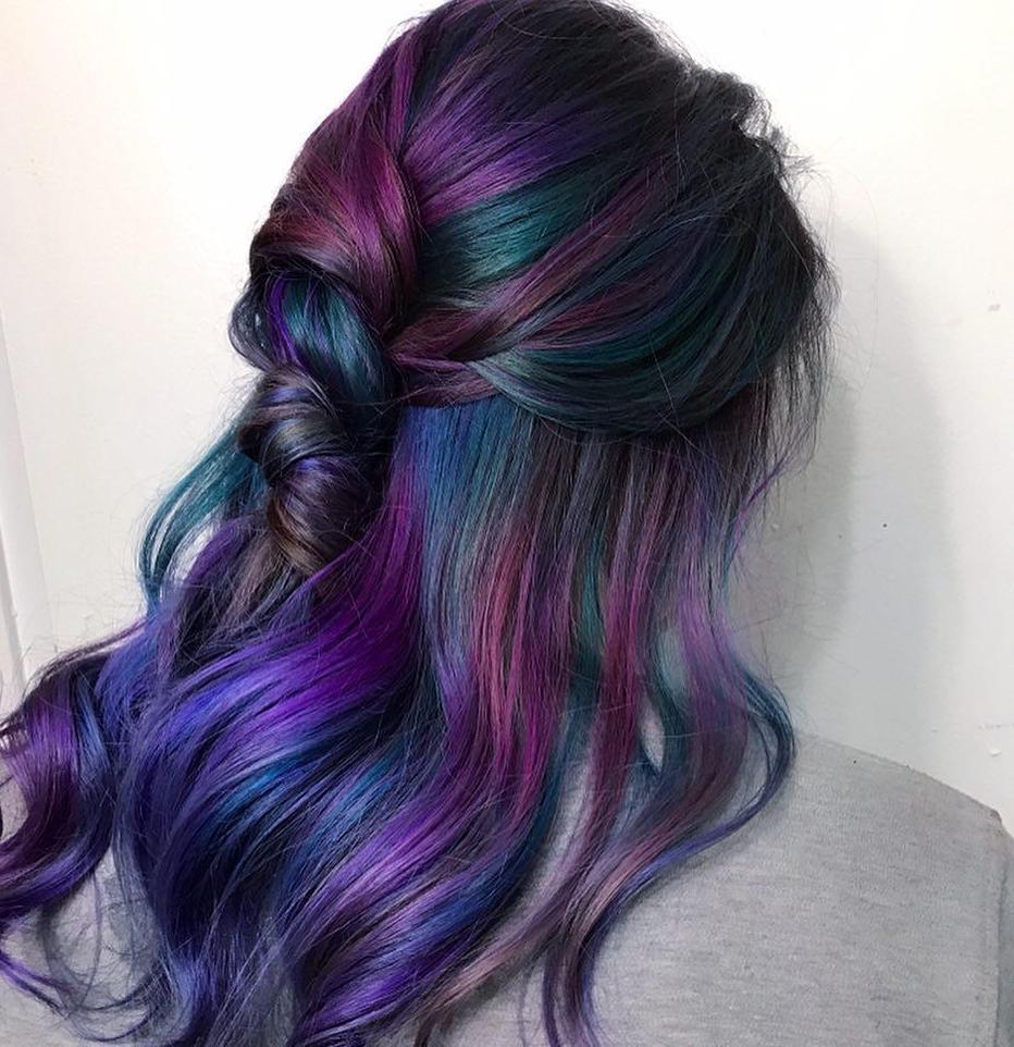 Woman with brunette rainbow hair