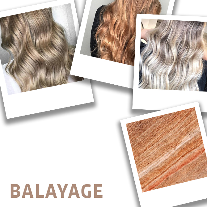 Collage of balayage hair techniques, created using Wella Professionals.