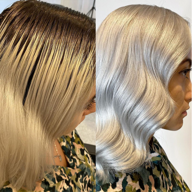 Before and after of blonde roots touched up, created using Wella Professionals.
