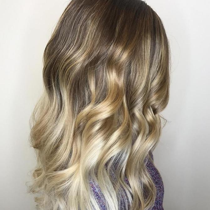 Woman with wavy toasted coconut hair