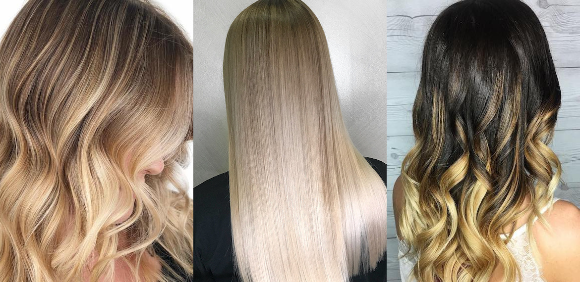 Collage of three images showing a woman with blonde balayage, blonde ombre and a blonde dip-dye, created using Wella Professionals.
