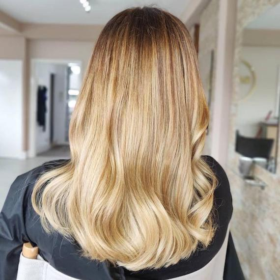Photo of the back of a woman's head with long honey blonde hair, created using Wella Professionals