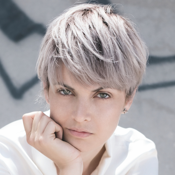 Photo of a woman with short, smoky blonde hair, created using Wella Professionals