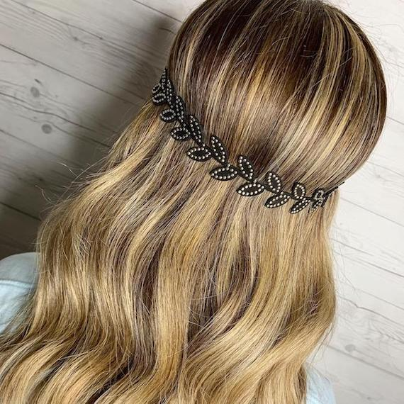 Photo of the back of a woman's head with wavy dirty blonde hair, created using Wella Professionals