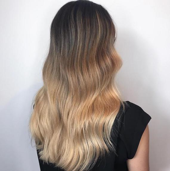Photo of the back of a woman's head with blonde ombre hair, created using Wella Professionals