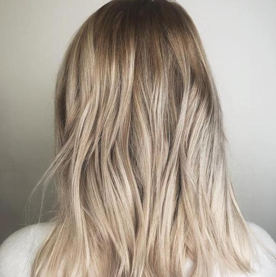 Photo of the back of a woman's head with blonde babylights, created using Wella Professionals