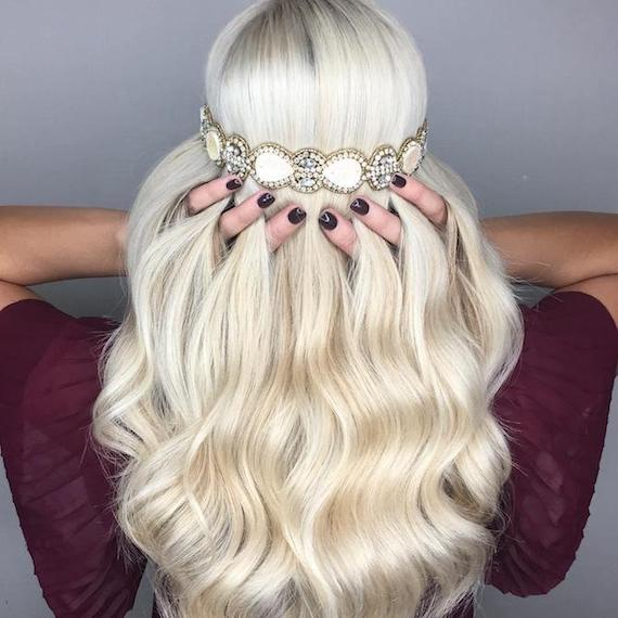 Photo of the back of a woman's head with wavy platinum blonde hair, created using Wella Professionals