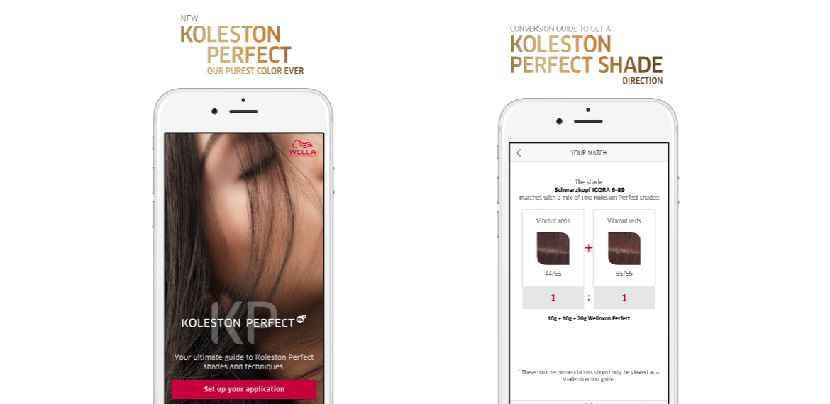 Screenshots of the Koleston Perfect Digital Shade Chart app by Wella Professionals.