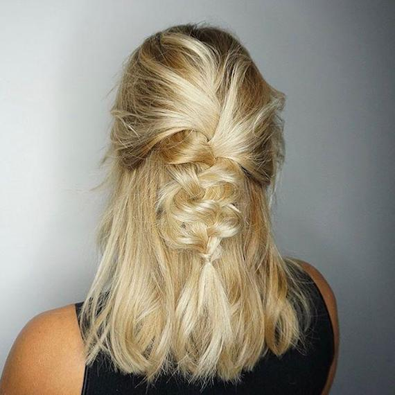 Model with blonde hair wearing a loose half-up braid, created using Wella Professionals