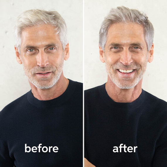 Before and after of true grey hair color on a male, created using Wella Professionals