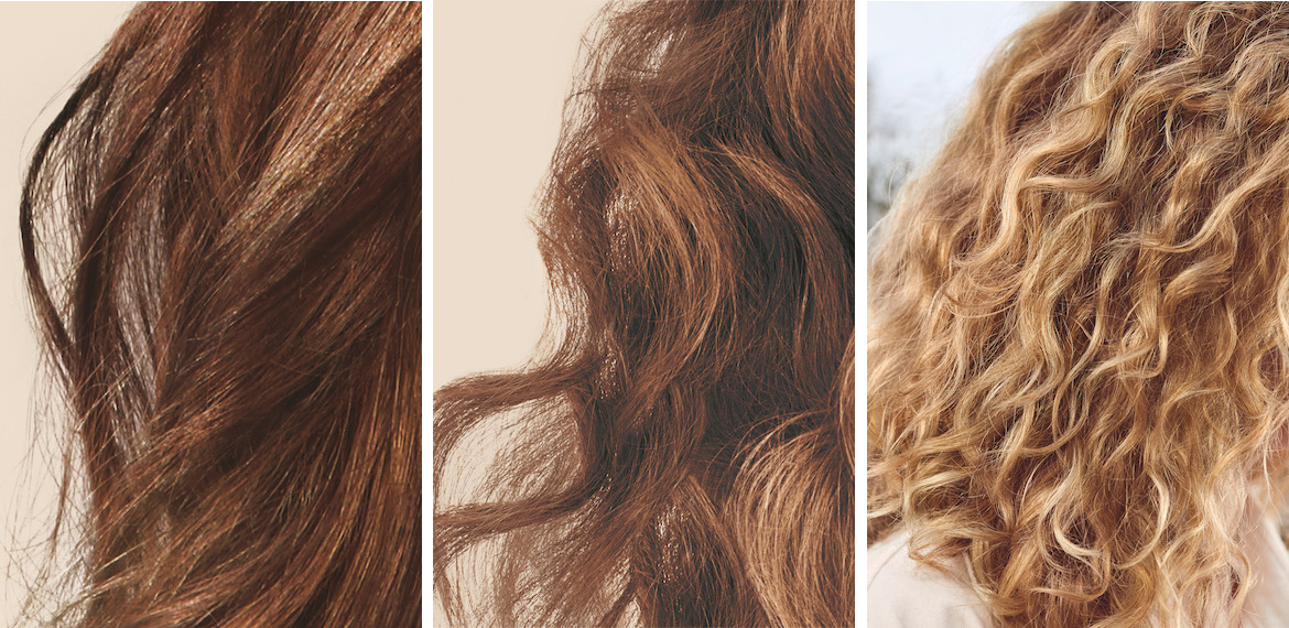 Photos showing the difference between 3A, 3B and 3C curly hair types, by Wella Professionals