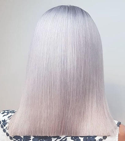 Woman with long straight metallic hair created using Illumina Color