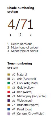 Wella Professionals Nuancen-Nummerierungssystem.