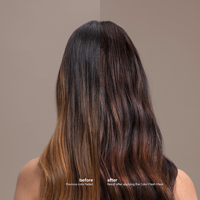 Brunette hair showing the before and after effects of Wella's Color Fresh Mask in Chocolate Touch.