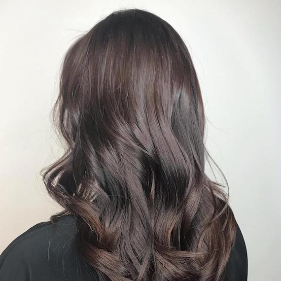Image of the back of a woman's head showing dark ash brown hair, created using Wella Professionals.