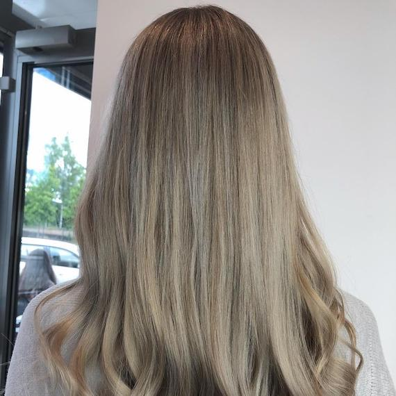Photo of the back of a woman's head with grey ash brown hair, created using Wella Professionals.