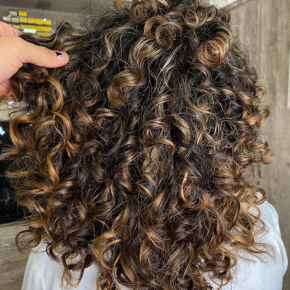 Back of woman's head with dark brown curly hair and chunky, caramel blonde balayage, created using Wella Professionals.