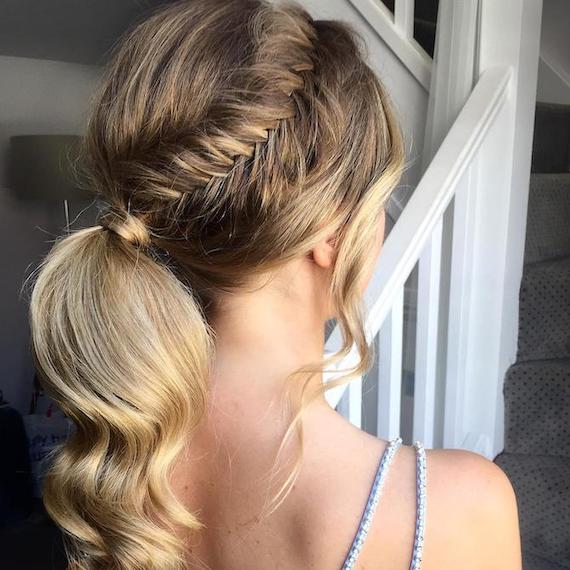 Back of woman's head with blonde, balayaged fishtail braid, created using Wella Professionals.