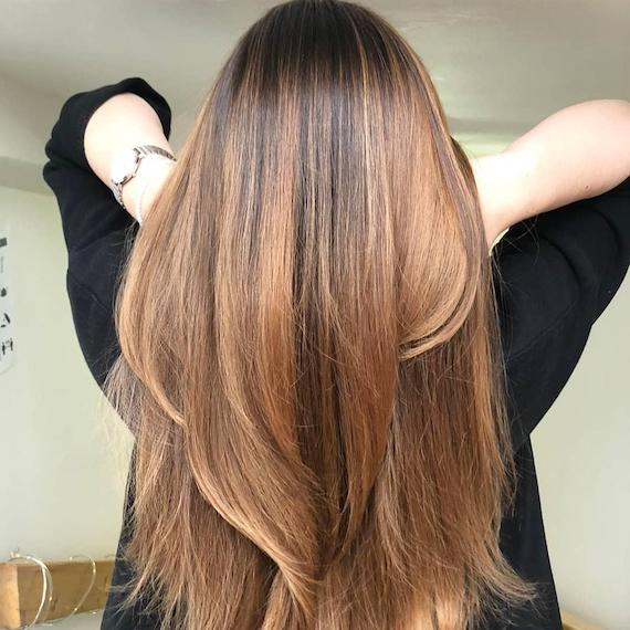 Back of woman's head with golden brown balayage through straight hair, created using Wella Professionals.