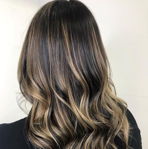 Back of woman's head with dark brown to blonde balayage, created using Wella Professionals.