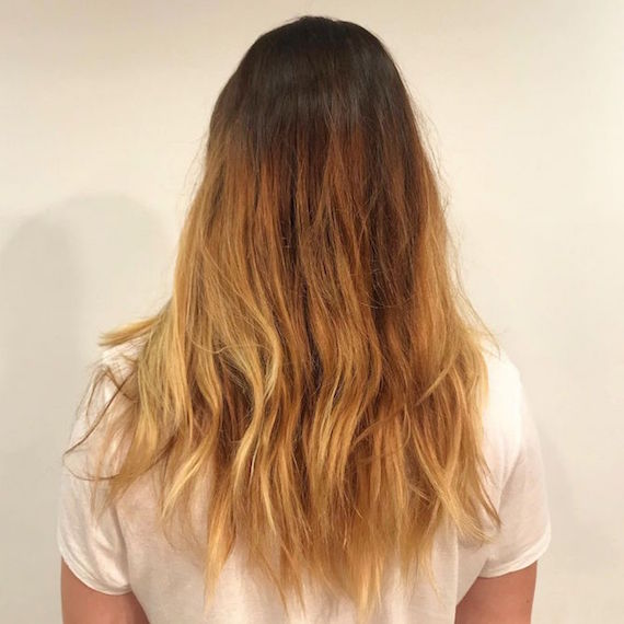 Back of woman's head with long hair and brassy mid-lengths and ends.