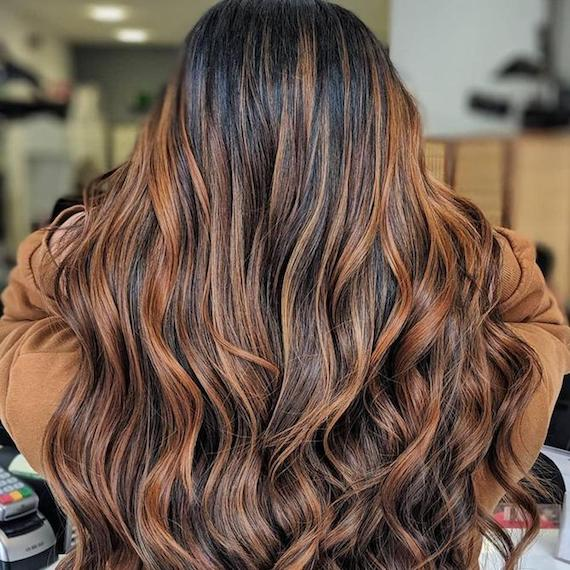 Back of woman's head with long, wavy, brown balayage, created using Wella Professionals.