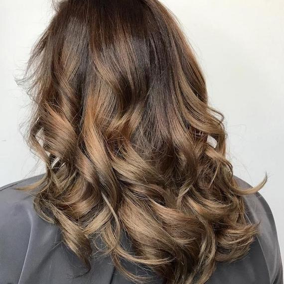 Back of woman's head with long, loosely-curled, brown ombre hair, created using Wella Professionals.