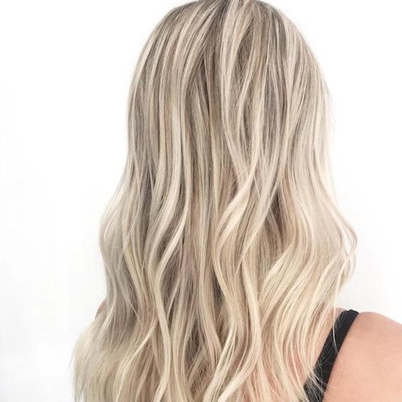Back of woman's head with long, cool blonde hair, created using Wella Professionals.
