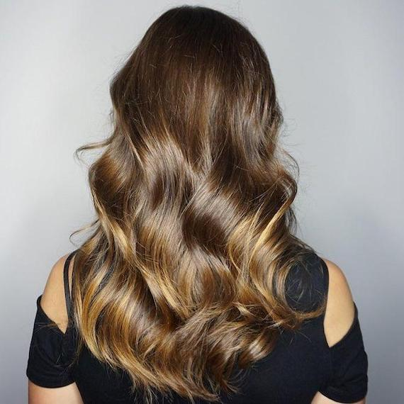 Photo of the back of a woman's head with long brown hair and caramel balayage, created using Wella Professionals.
