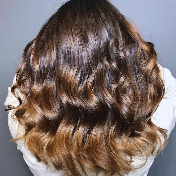 Photo of the back of a woman's head with long chocolate brown hair and balayage, created using Wella Professionals.