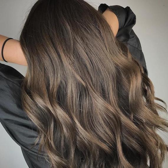 Photo of the back of a woman's head with long ash brown hair and balayage, created using Wella Professionals.