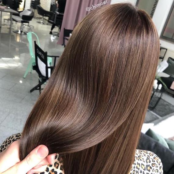 Back of woman's head with long, straight, glossy brunette hair, created using Wella Professionals.