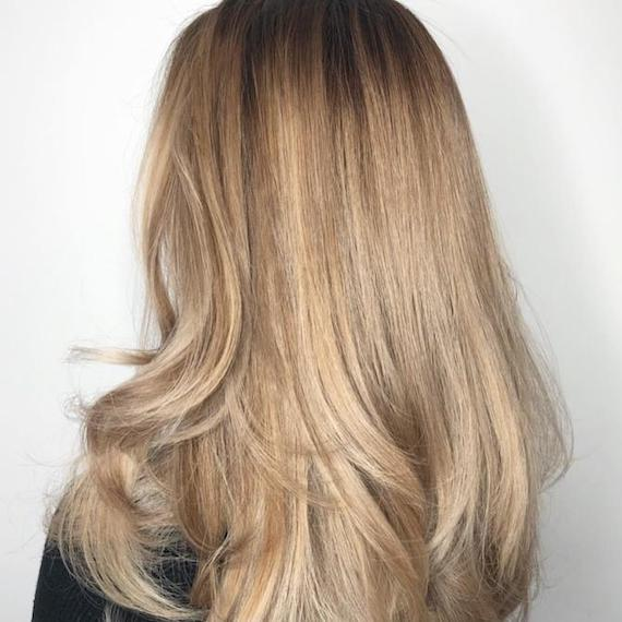 Back of woman's head with long, straight dirty blonde hair and caramel highlights, created using Wella Professionals.