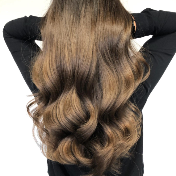 back of woman's head with long,cool chestnut brown hair, created using Wella Professionals