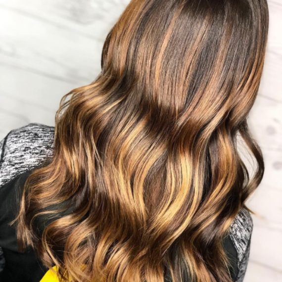 back of woman's head with long, golden brown hair,  created using Wella Professionals