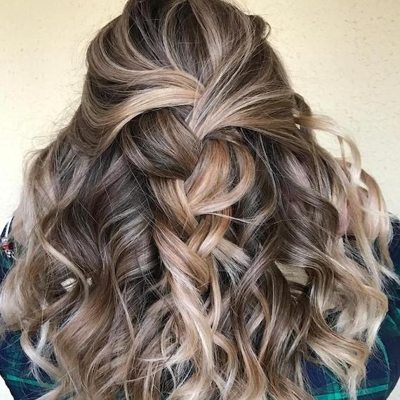Back of woman's head with curly, braided, frosted hair, created using Wella Professionals.