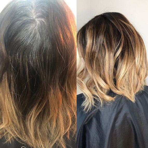 Before and after of dark roots with gray coverage, created using Wella Professionals.