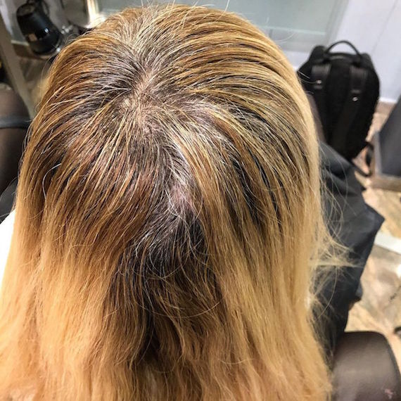 Photo of blonde hair with gray roots.