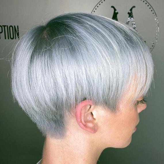 Photo of woman with gray blonde pixie cut, created using Wella Professionals.