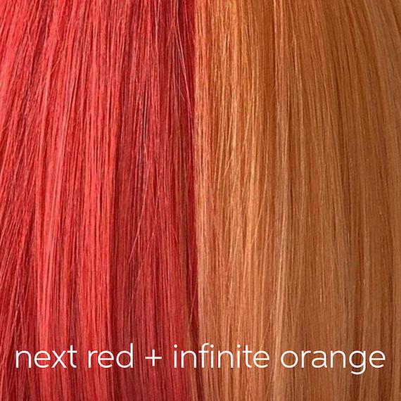 Close-up of half and half hair color in orange and red, created using Wella Professionals.