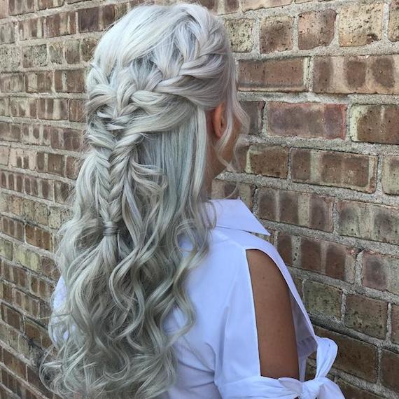 Back of woman's head with long, wavy, ice blonde braids, created using Wella Professionals.
